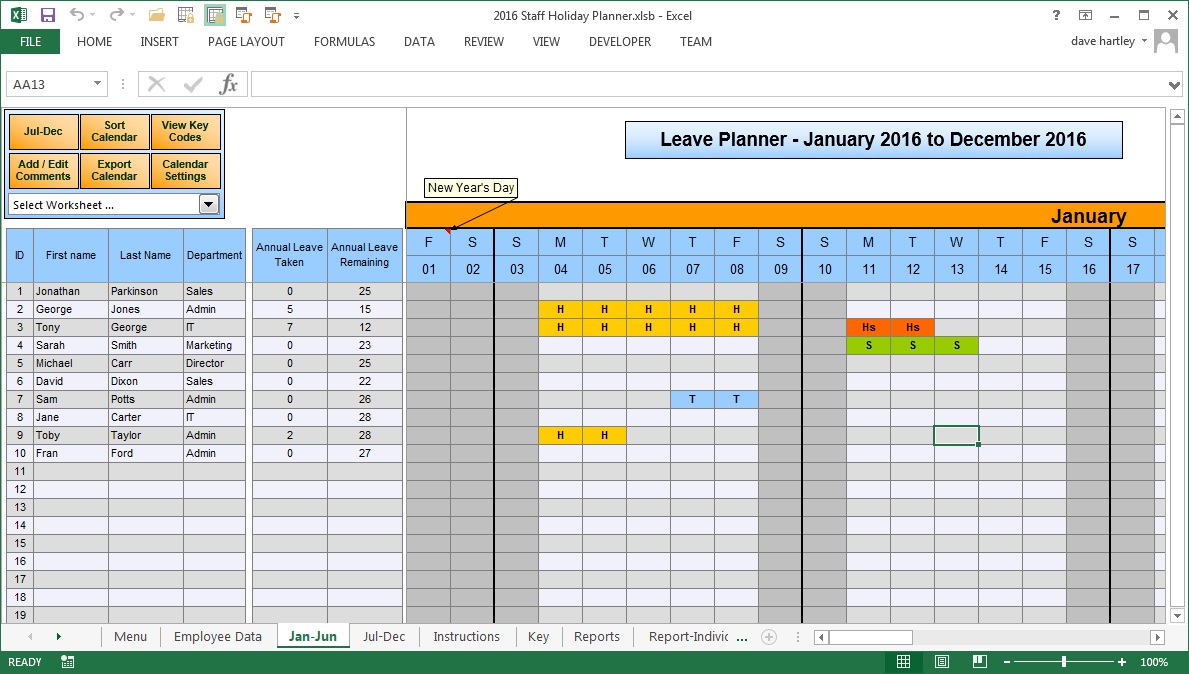free vacation calendar